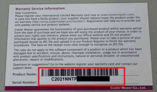 How to Locate a Serial Number on a Product | Cooler Master FAQ